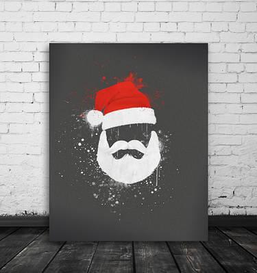 Новорічний плакат Red White Santa формат А3