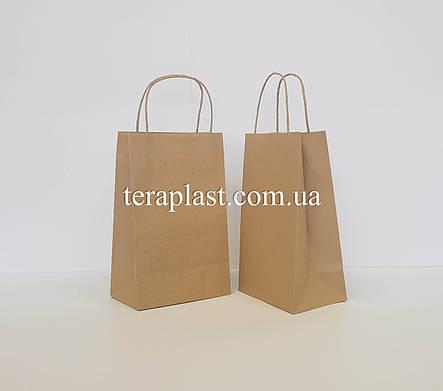 Бумажные крафт-пакеты бурые с ручками 190х110х280, фото 2