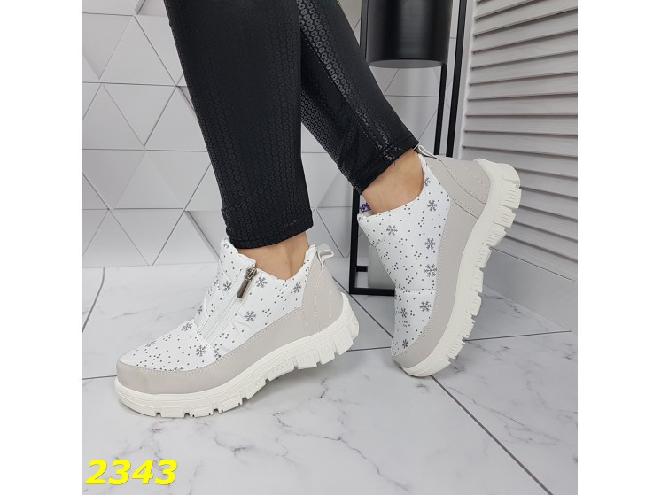 Дутики ботинки зимние на меху белые К2343