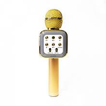 Беспроводной аккумуляторный Wster Bluetooth караоке-микрофон WS-1818 Золотой (par_1818_2)