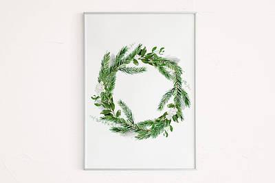Новогодний плакат Xmas wreath формат А3
