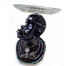 Фігурка з полистоун для декору Африканка з стравою