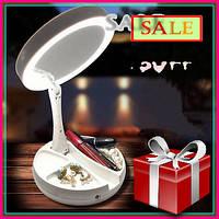 Круглое косметическое зеркало с LED подсветкой, зеркало для макияжа увеличительное складное + подарок