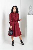 Шикарное бордовое платье рубашечного кроя из замши длина миди 46, 48, 50