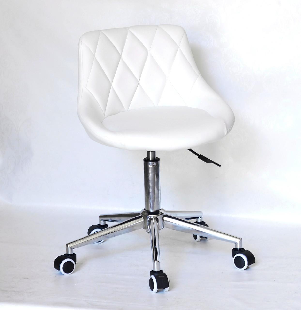 Біле офісне крісло з еко-шкіри на коліщатках і хромованому підставі FORO Modern Office