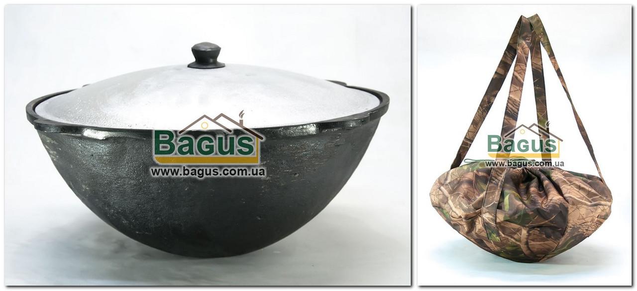 Чугунный наманганский (узбекский) казан 16л с крышкой (d-41см,стенка 6мм) и чехлом, отшлифованный, круглый низ