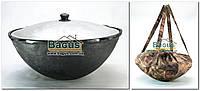 Чугунный наманганский (узбекский) казан 16л с крышкой (d-41см,стенка 6мм) и чехлом, отшлифованный, круглый низ, фото 1
