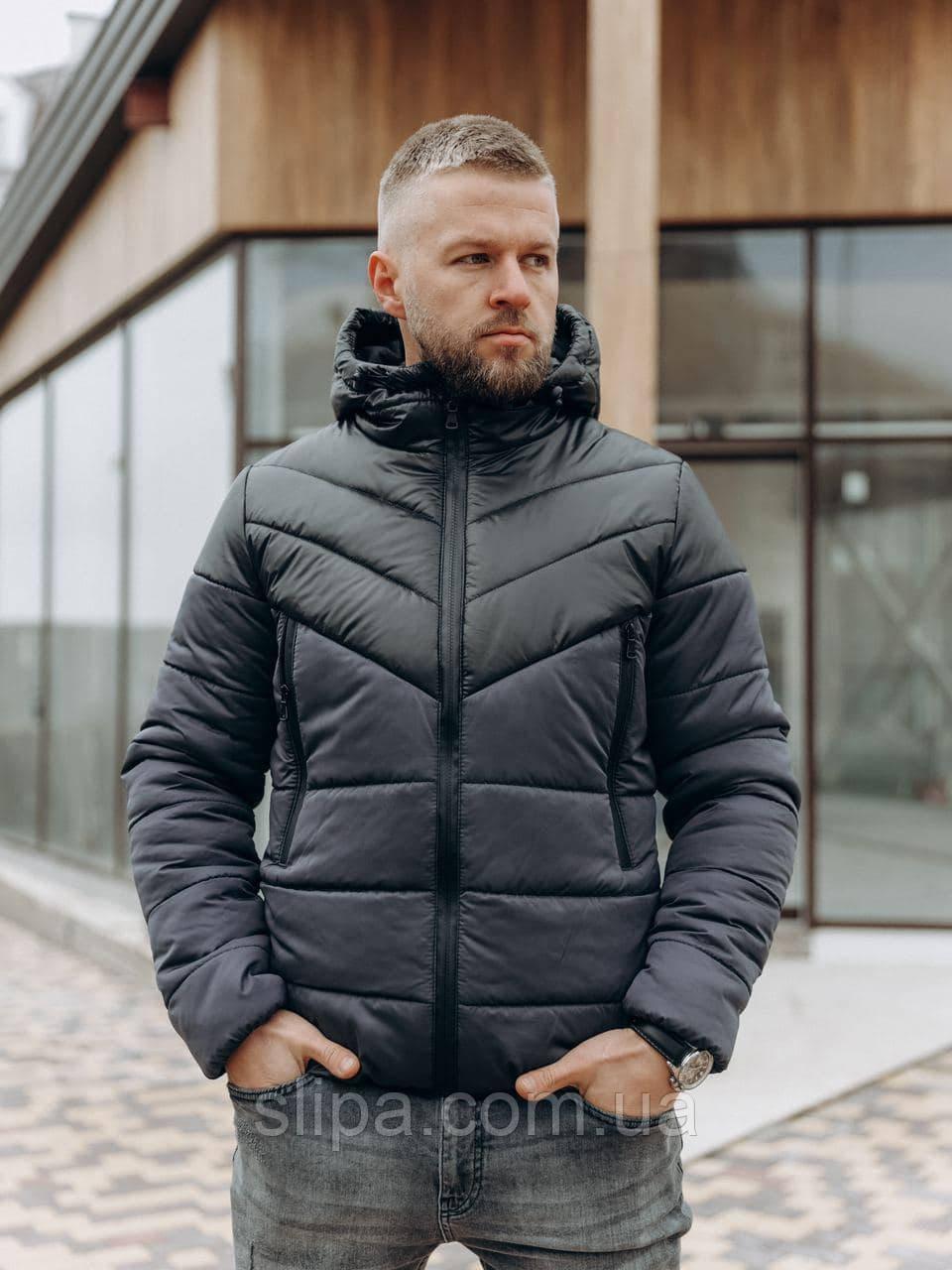 Мужская куртка с капюшоном тёмно синяя с чёрной вставкой (Холлофайбер, до -10С)