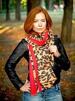 Кашемировый палантин Моника леопард 180*70 см коричневый