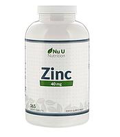 Цинк, 40 мг Nu U Nutrition (США), глюконат цинка, 365 растительных таблеток