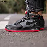 Nike Air Force 1 Black\Grey\Red (черно/красные) cas, фото 3