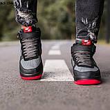 Nike Air Force 1 Black\Grey\Red (черно/красные) cas, фото 4
