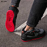 Nike Air Force 1 Black\Grey\Red (черно/красные) cas, фото 7