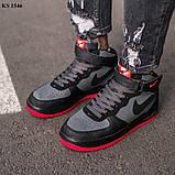 Nike Air Force 1 Black\Grey\Red (черно/красные) cas, фото 8