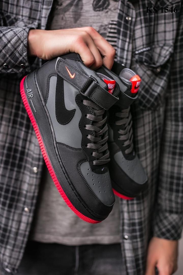 Nike Air Force 1 Black\Grey\Red (черно/красные) cas