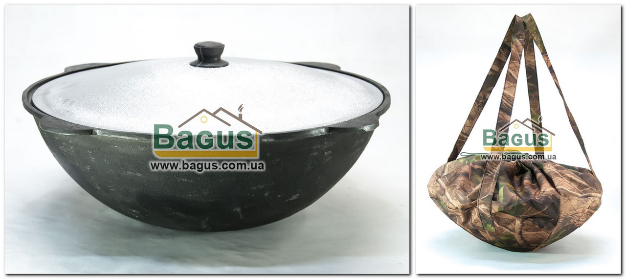 Чавунний наманганський (узбецький) казан 16л з кришкою (d-43см,стінка 5мм) і чохлом, відшліфований, плоский низ