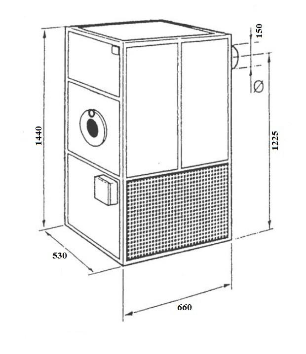Габариты Воздухонагреватель на отработке MTM M-35 (40 кВт) Фото