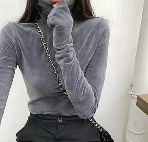 Женская велюровая водолазка под горло