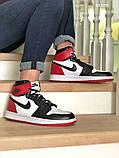 Nike Air Jordan 1 Retro High (черно/белые/красные) cas, фото 3