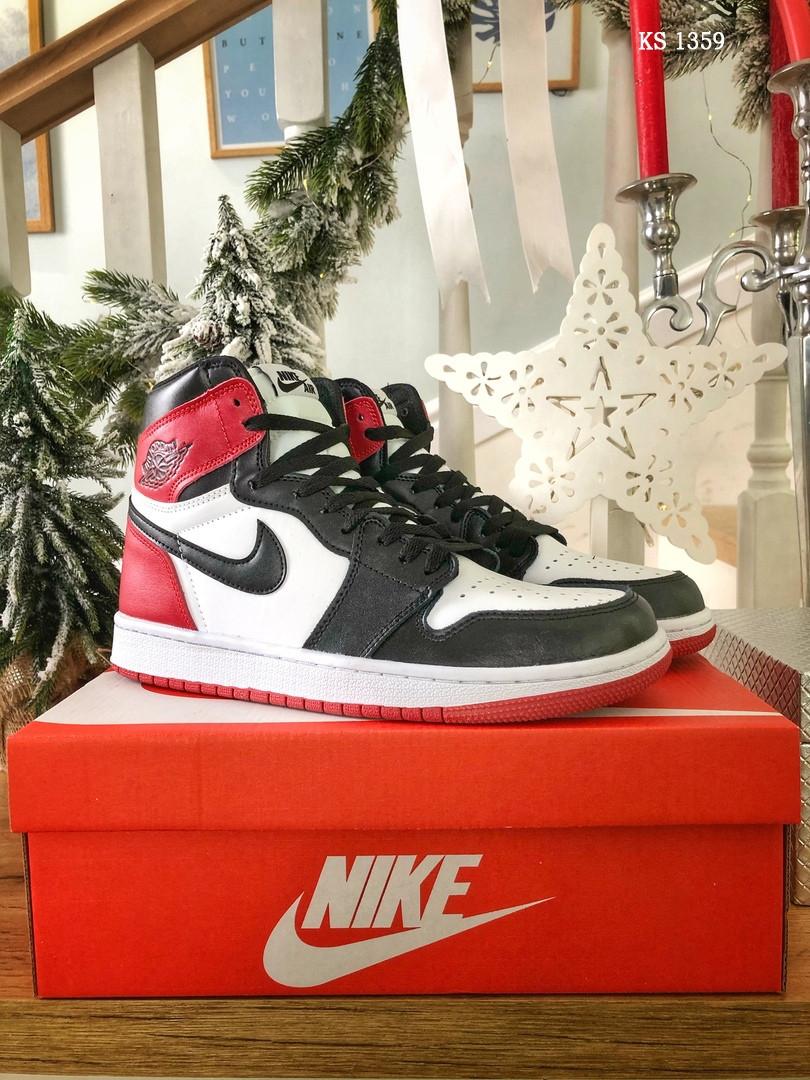 Nike Air Jordan 1 Retro High (черно/белые/красные) cas