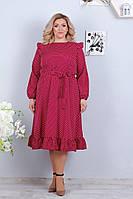 Женское платье миди в горошек с поясом батал, фото 1