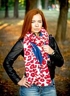 Кашемировый палантин Моника леопард 180*70 см красный