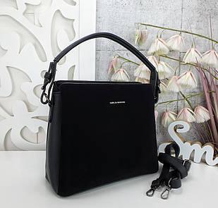 Жіноча чорна сумка, екошкіра/натуральна замша