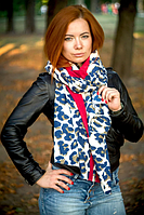 Кашемировый палантин Моника леопард 180*70 см синий