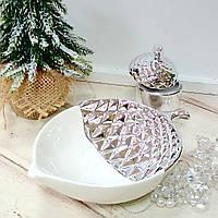 Декоративне керамічне блюдо Жолудь, 15.4 см, колір - біле з сріблом, фото 1