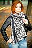 Кашемировый палантин Моника леопард 180*70 см графит