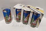 Набор новогодних стеклянных стаканов 6 шт 270 мл для сока, воды, молока Christmas Santa UniGlass, фото 3