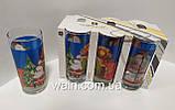 Набор новогодних стеклянных стаканов 6 шт 270 мл для сока, воды, молока Christmas Santa UniGlass, фото 4