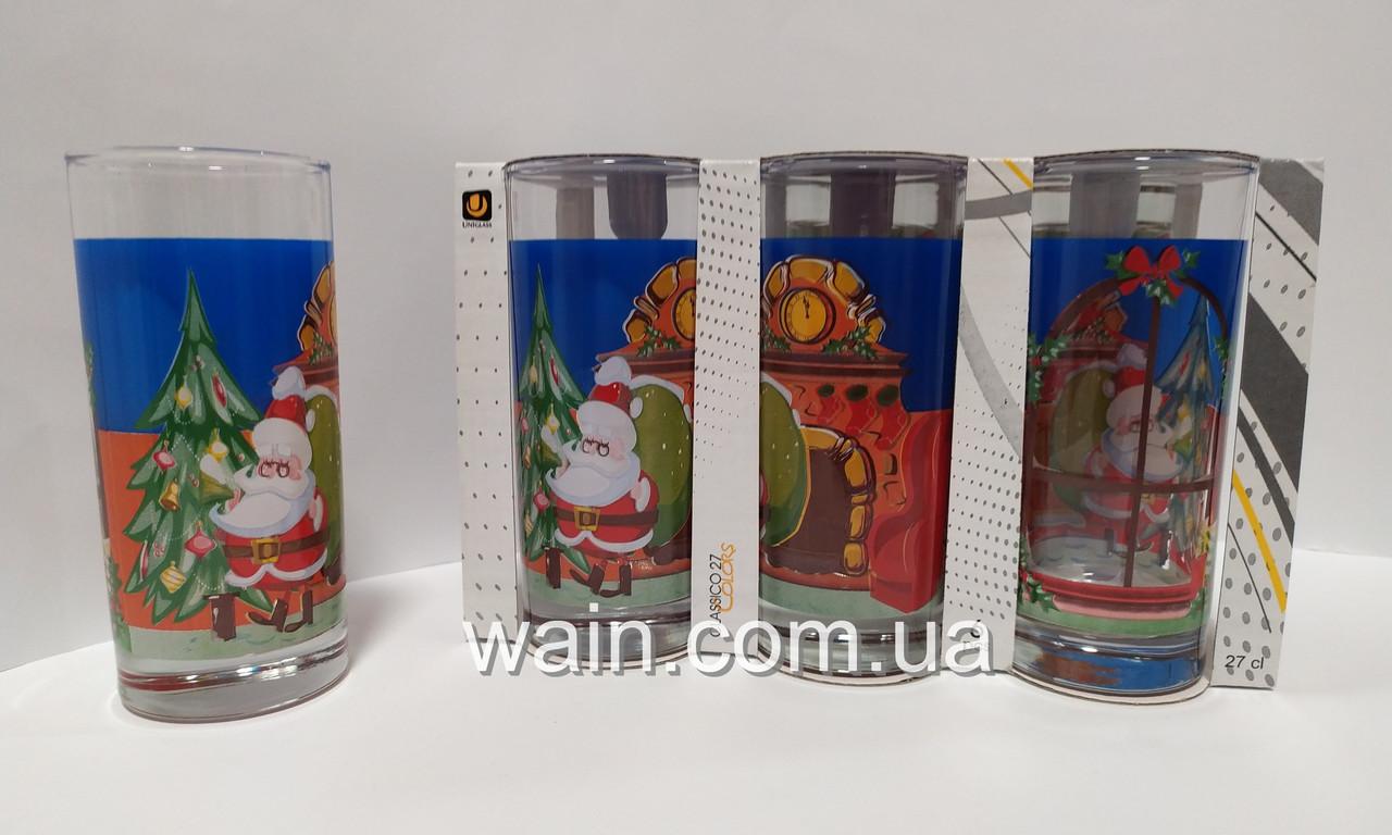 Набор новогодних стеклянных стаканов 6 шт 270 мл для сока, воды, молока Christmas Santa UniGlass