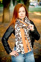Кашемировый палантин Моника леопард 180*70 см коричневый 1819