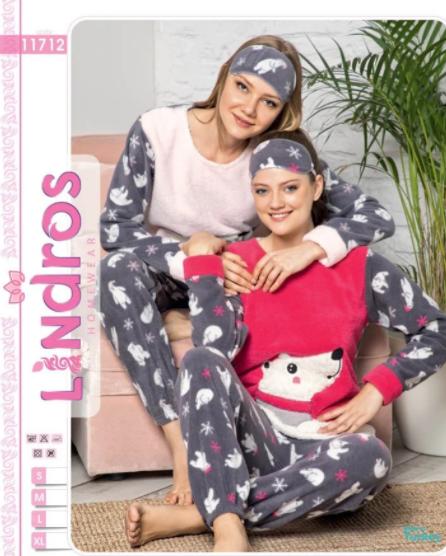 Женская турецкая теплая пижама Lindros  Teddy bear in a scarf