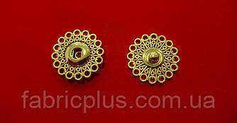 Кнопка пришивная металлическая №25 ажурная золото