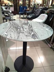 Барный стол ВТ-01 МДФ белый мрамор D80*95(H) от Vetro Mebel