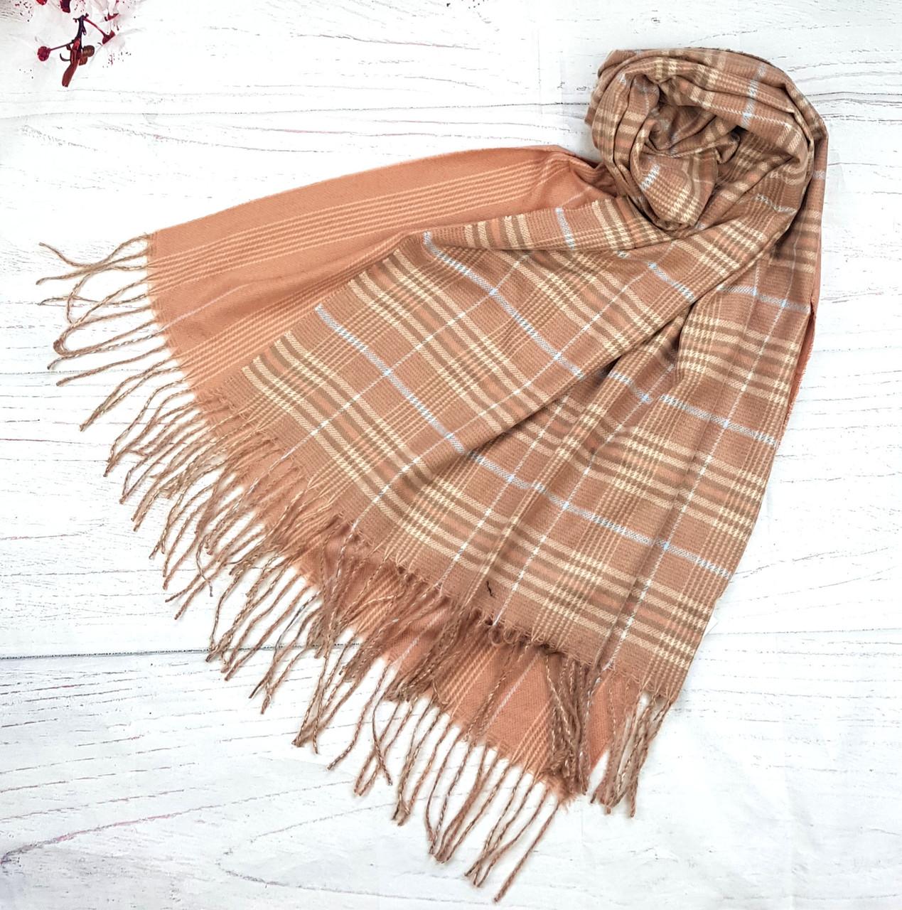 Палантин шарф теплый в клетку Морано