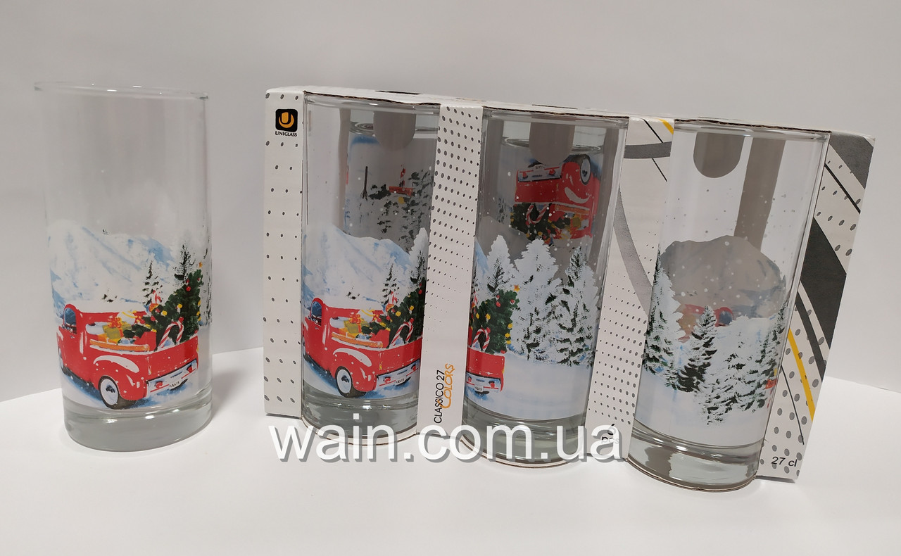 Набор новогодних стеклянных стаканов 6 шт 270 мл для сока, воды, молока Christmas To the North Pole UniGlass