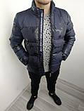 Куртка чоловіча зимова синя з капюшоном 4 кольори, фото 3