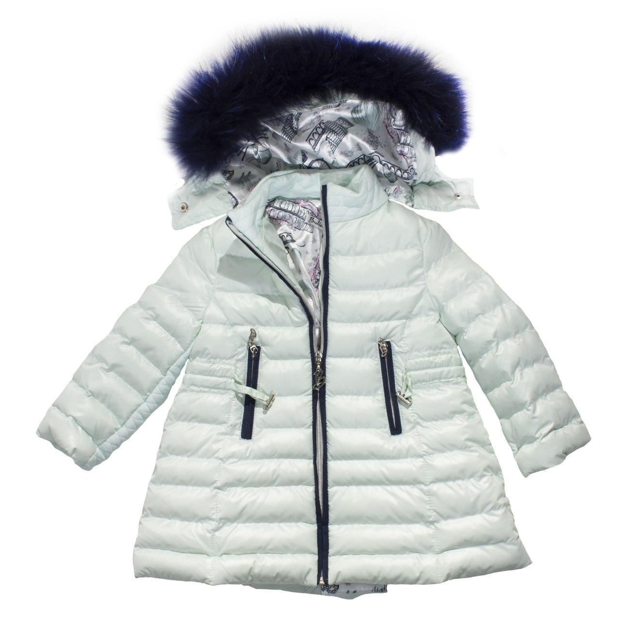 Зимний пуховик для девочки с натуральным мехом, еврозима, размер 2 года