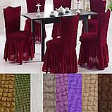 Универсальные натяжные стрейч чехлы накидки на стулья со спинкой для кухни турецкие мягкие жатка Коричневый, фото 3