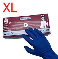 Перчатки амбулатория латексные повышенной прочности неопудренные MEDLUX (синий) XL 25 пар