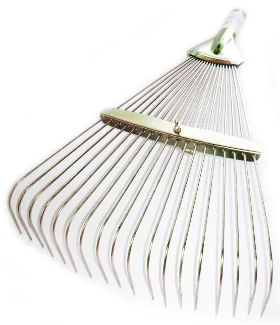 Грабли веерные раздвижные металлические, грабли проволочные, универсальные,золотистые,без ручки