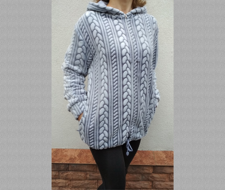 Кофта женская теплая с капюшоном из Well Soft Украина р54 ассорти 20038885