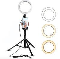 Кольцевая светодиодная селфи лампа 26 см и 1,3 метра штатив для блогера