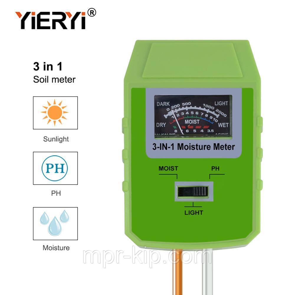 Вимірювач кислотності pH, вологості, освітленості грунту YiERYi ЕТП-304 (3 в 1)