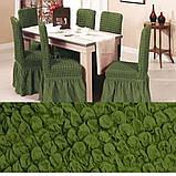 Универсальные натяжные стрейч чехлы накидки на стулья со спинкой для кухни турецкие мягкие жатка Коричневый, фото 6