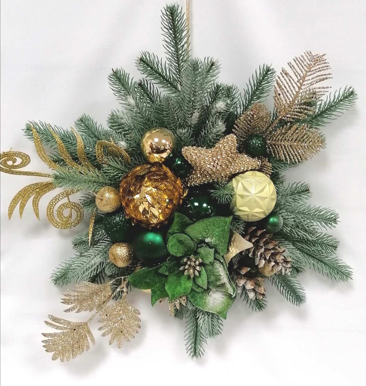 Новогодняя звезда из литой хвои и зеленой пуансетией 50 см
