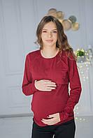 7604(1) Лонгслив для беременных  Бордо, фото 1